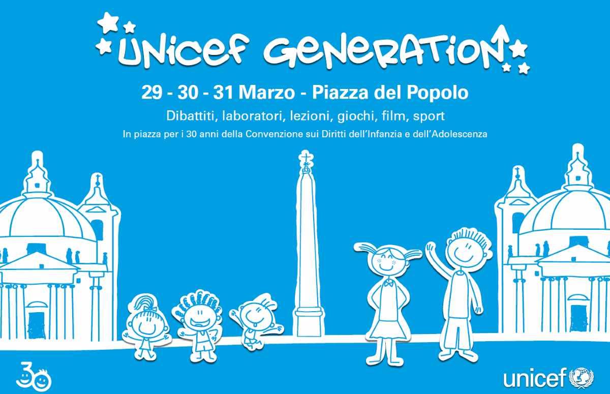 L'Unicef in Piazza del Popolo a Roma per i 30 anni della Convenzione Onu sui diritti dell'infanzia e dell'adolescenza