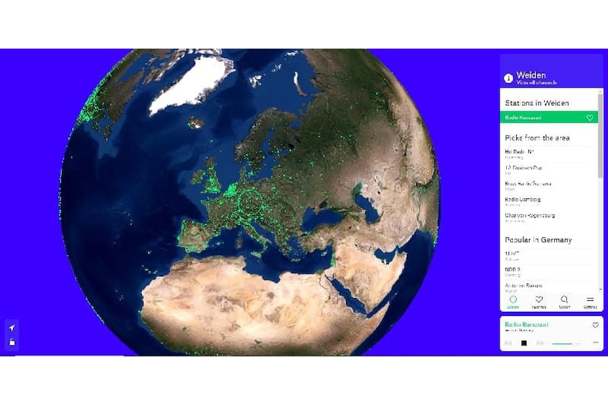 Radio Garden, il mappamondo virtuale con le radio di tutto il mondo ascoltabili via internet