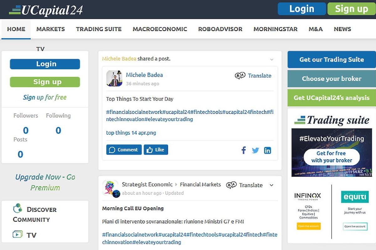 """Ucapital24 lancia """"Trading Suite"""": la piattaforma Fintech per broker e banche"""