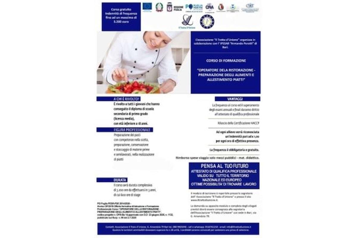 Puglia, al via le iscrizioni per il corso gratuito con indennità di frequenza di Operatore della Ristorazione a Il Tratto d'Unione