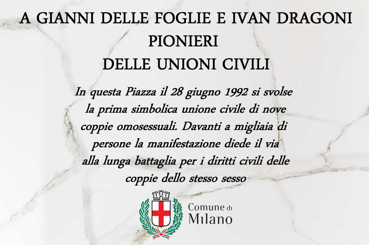 Milano, scontro sulla targa commemorativa delle unioni gay