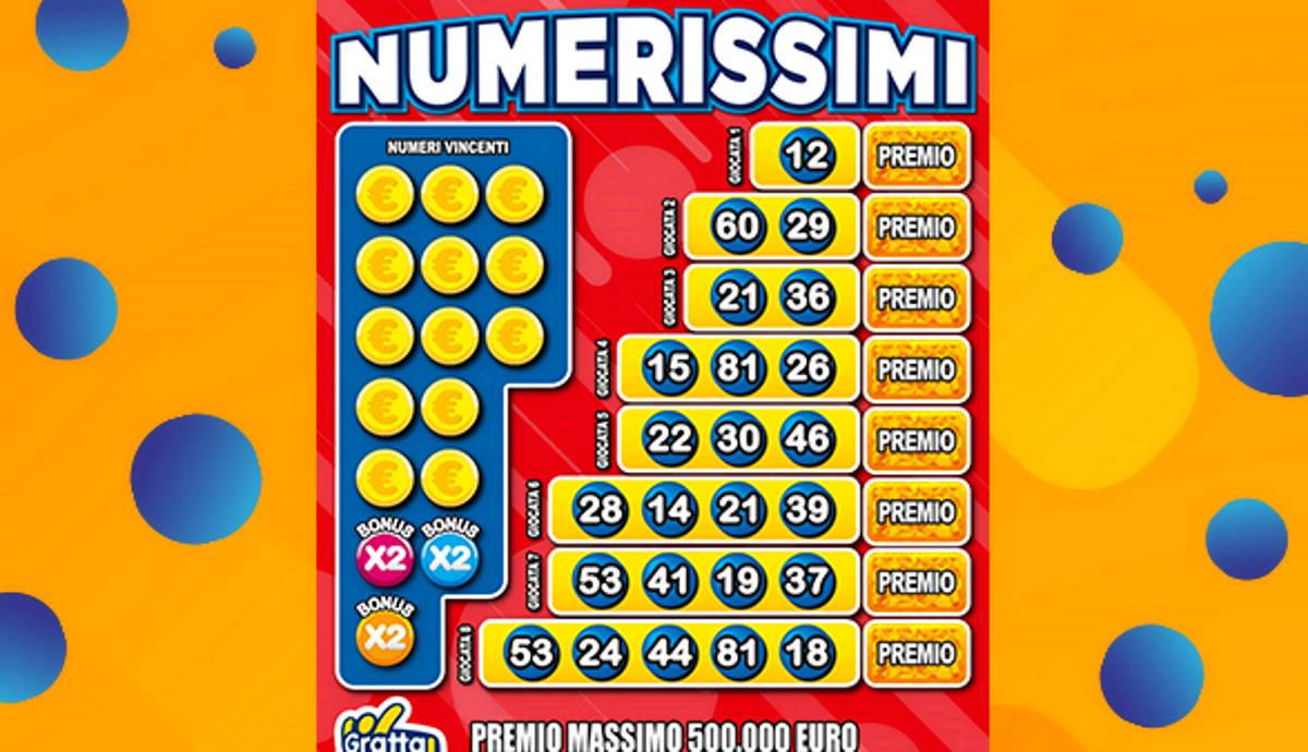 Gratta e vinci Numerissimi: con 5 euro si può vincere fino a mezzo milione