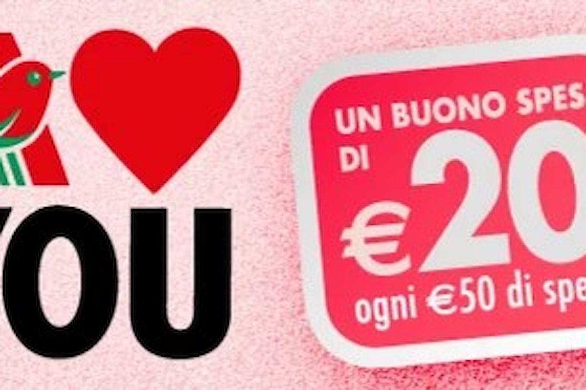 San Valentino da Auchan offre l'opportunità di ottenere buoni spesa da 20 euro