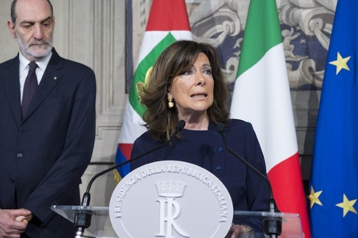 Mattarella affida alla Casellati un mandato per esplorare le intenzioni delle varie forze politiche a dar vita ad un governo
