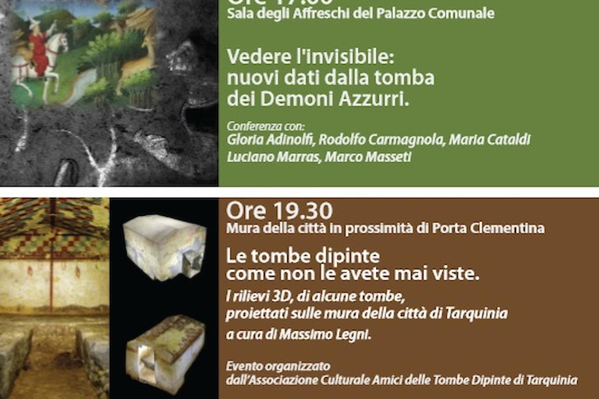 """Una suggestiva proiezione di immagini in 3D delle Tombe Etrusche sulle Mura Medioevali di Tarquinia conclude la manifestazione """"Incontri d'autunno"""""""