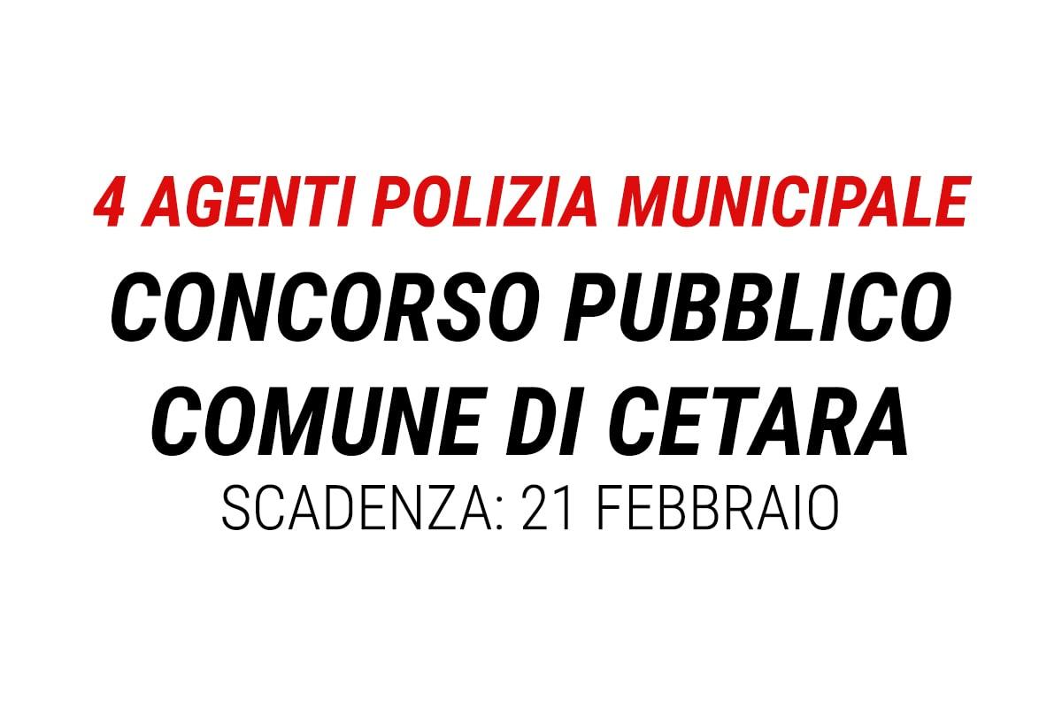 CETARA SALERNO CONCORSO pubblico per 4 posti di AGENTE POLIZIA MUNICIPALE