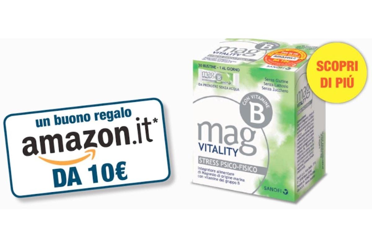 Gratis sul web - Buono Amazon di 10 euro se acquisti Mag Vitality 30 bustine orosolubili