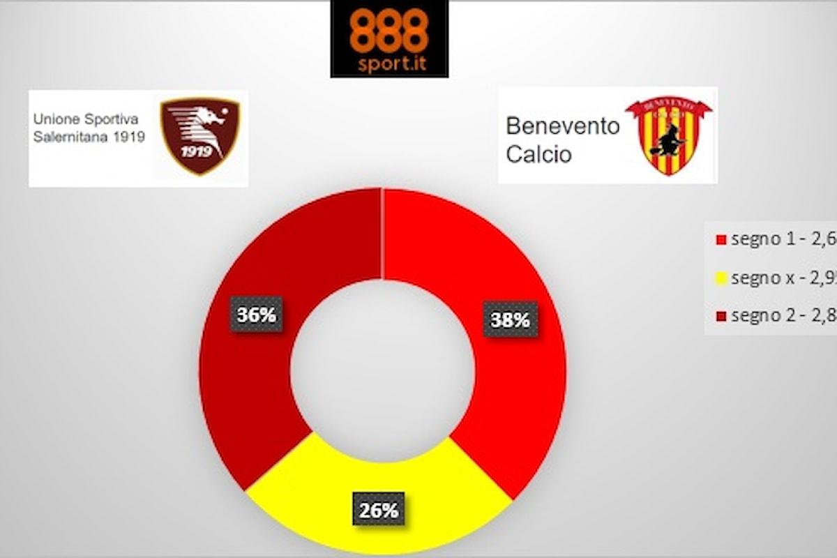 Salernitana-Benevento, per quotisti e scommettitori il derby è in bilico