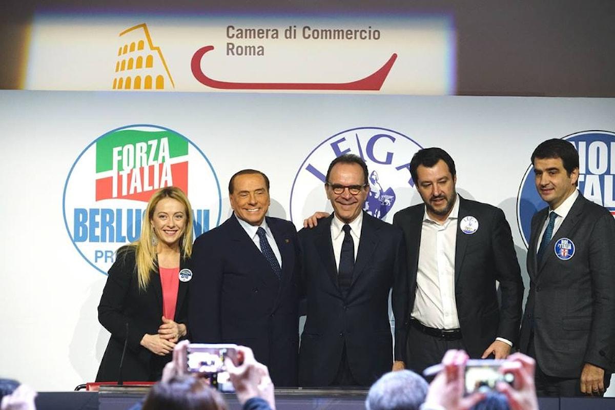 Il centrodestra riunito a Roma chiude la campagna elettorale con un evento minimalista e surreale
